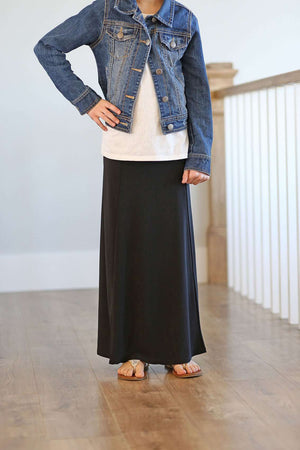 Drape Long Black Girl Skirt