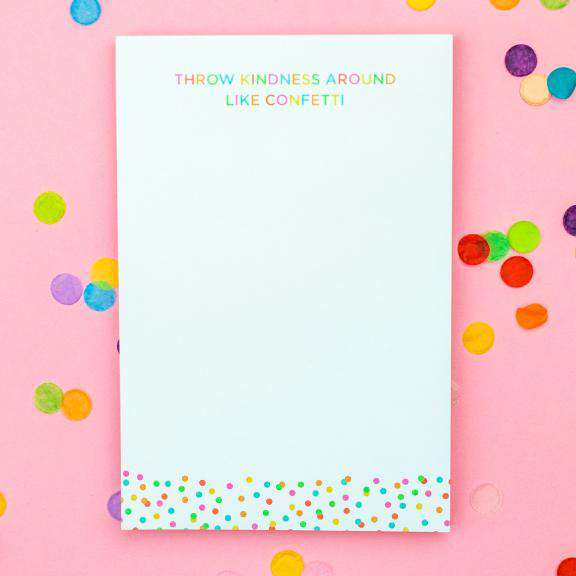 Throw confetti around like kindness notepad with multi colored polka dots