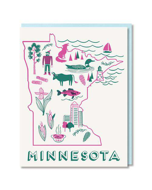 Minnesota state outlined 5x4, pink and green greeting card with baby blue envelope.