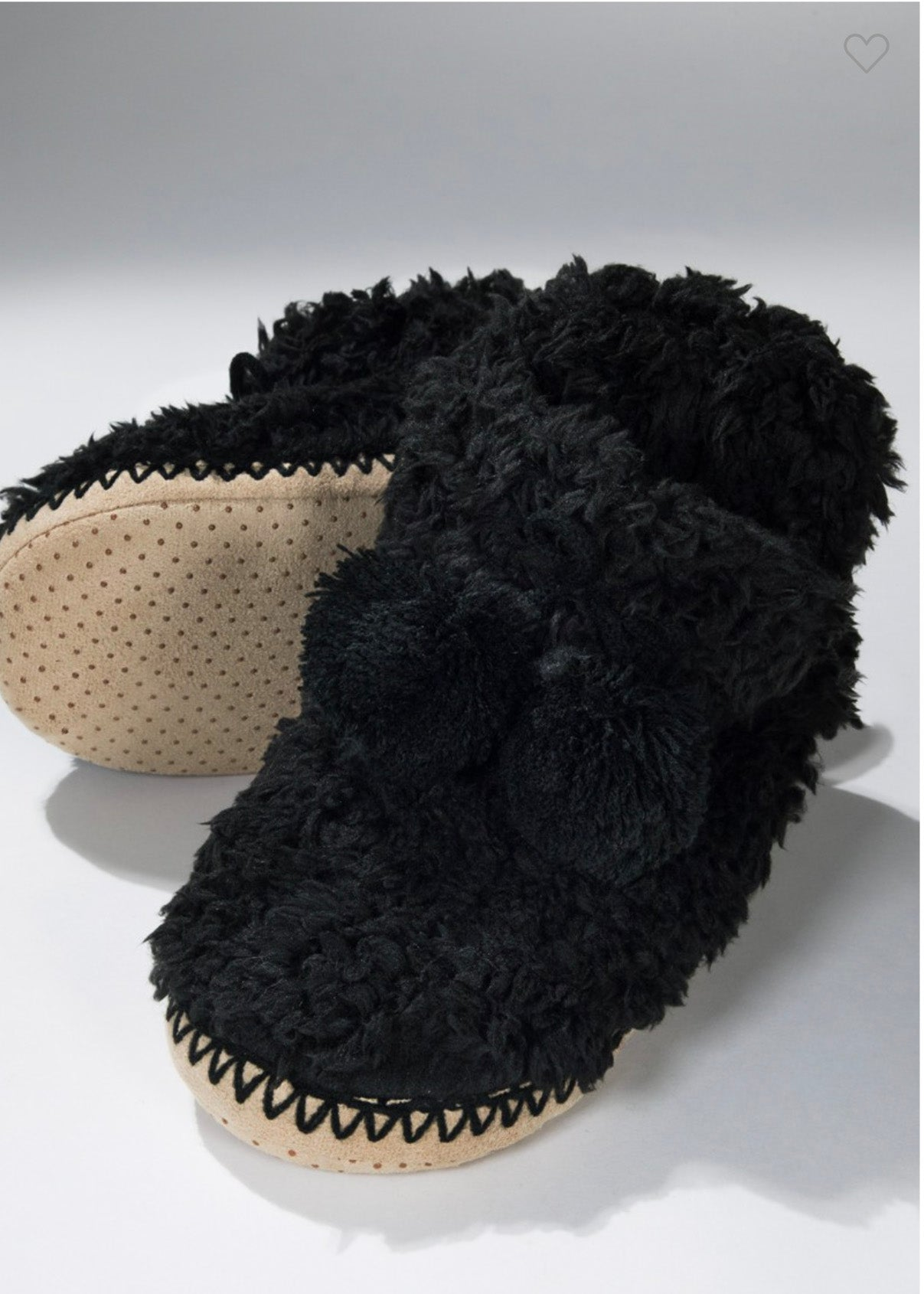 Black Faux Fur Bootie Slippers - FINAL SALE