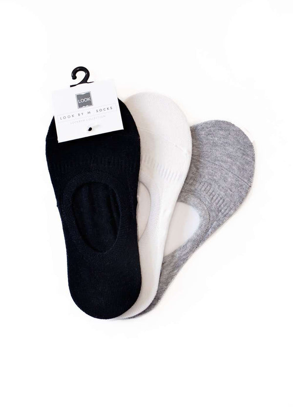 Inherit Co.  | Shoes | Basic No Show Socks | Black, White and Gray no show cotton socks