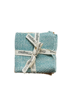 mustard and teal cotton dish cloths
