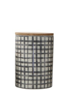 tile designed stone canister with bamboo lid