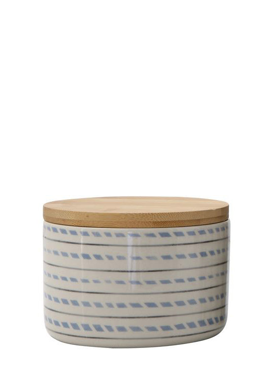 Inherit Co.  | Home + Lifestyle | Stoneware Bamboo Dash Canister | stoneware canister with a dash design and bamboo lid