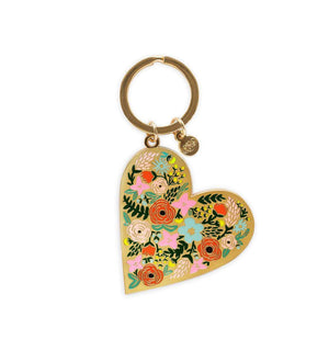 Modest gift floral enamel heart key chain