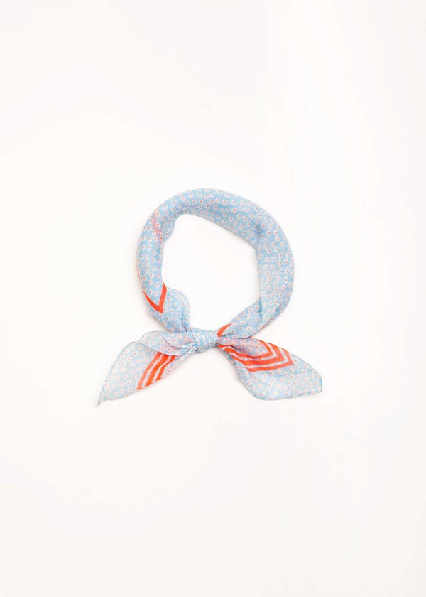 blue and orange floral head bandana