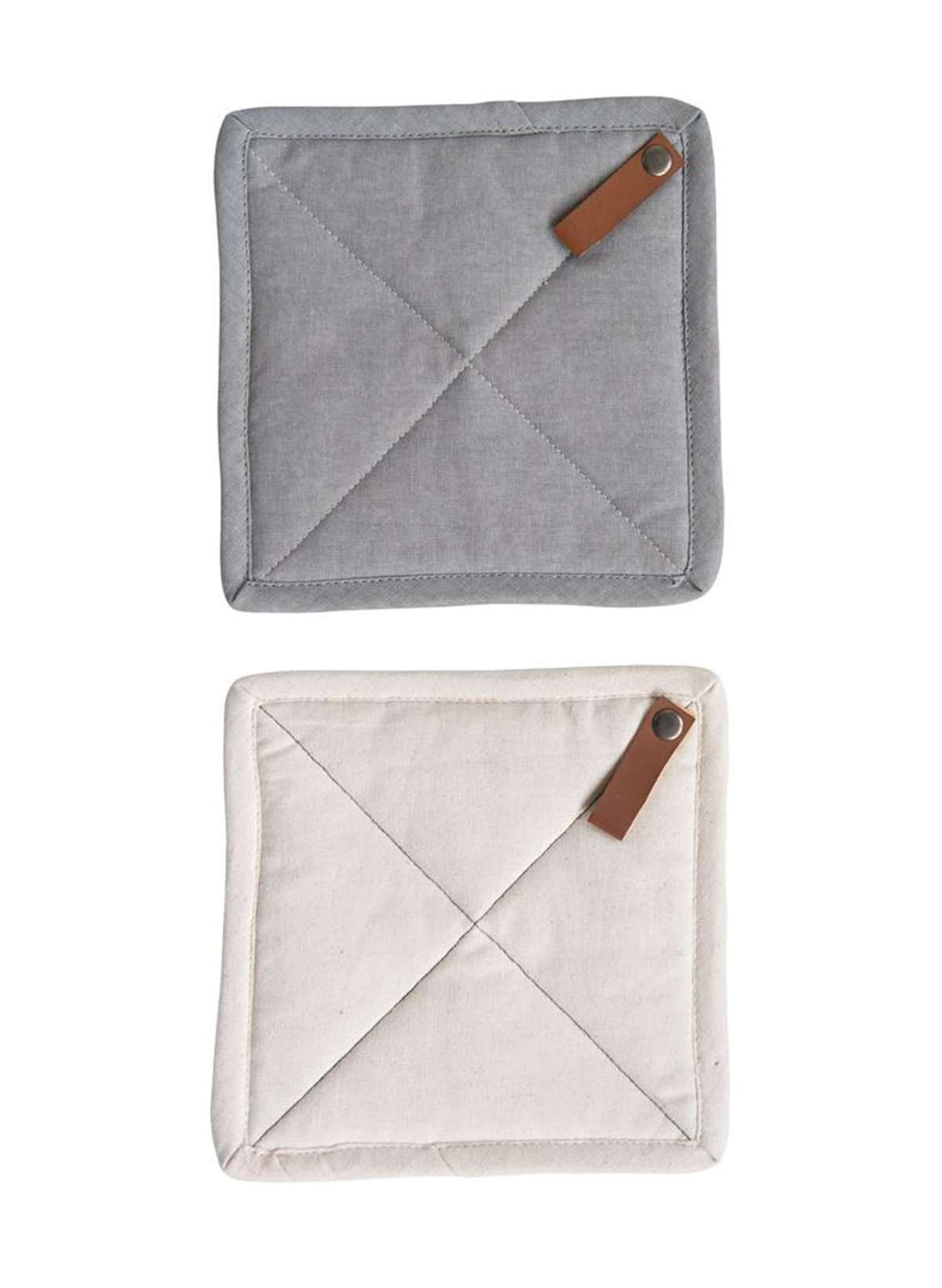 gray and tan quilted pot holder set with leather loop tab