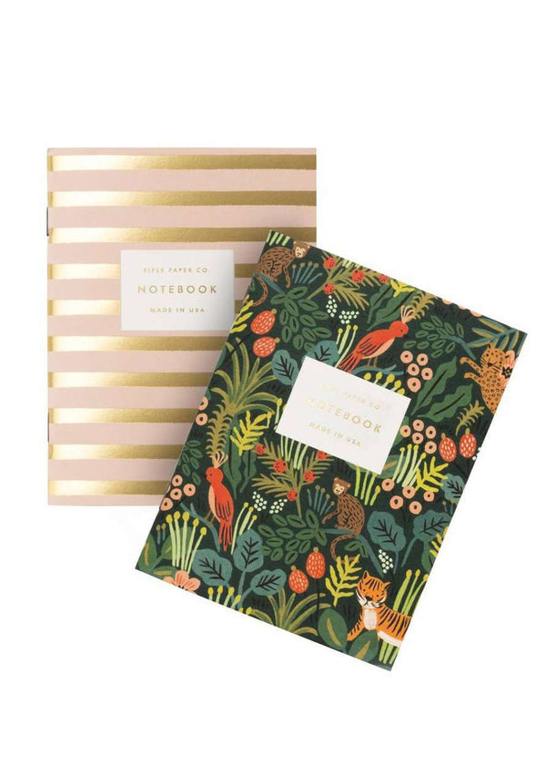 Inherit Co.  | Home + Lifestyle | Everyday Jungle Pocket Notebook | Modest and affordable rifle paper gold stripe and floral black notebook