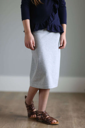 Below The Knee Length Light Heather Gray Modest Straight Fit Knit Skirt For Girls