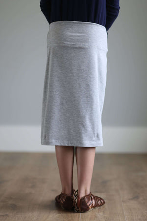 'Kiera' Knit Below the Knee Length Skirt for Girls in Heather Gray