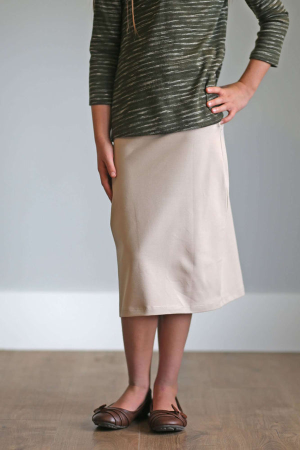 'Kiera' Knit Below the Knee Length Skirt for Girls in Tan