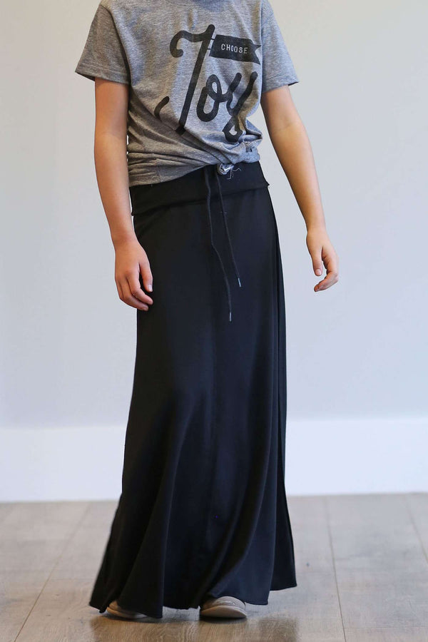 Modest Black Maxi Skirt For Girls With Tie Waistband