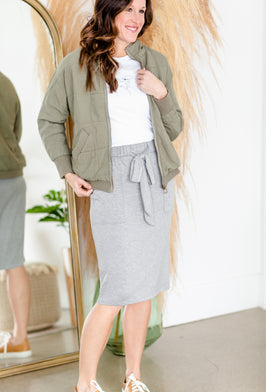 Inherit Co.  | Modest Plus Size Clothing | A-line Contrast Stitched Long Denim Skirt |