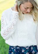 Ivory Lace Swiss Dot Blouse - FINAL SALE