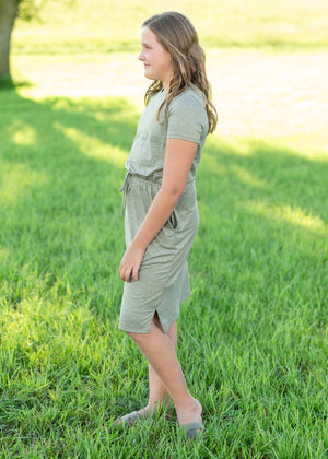 Olive Waist Tie Short Sleeve Midi Dress - FINAL SALE