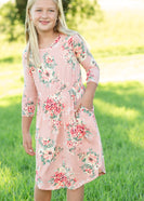 Blush Floral 3/4 Sleeve Midi Dress - FINAL SALE