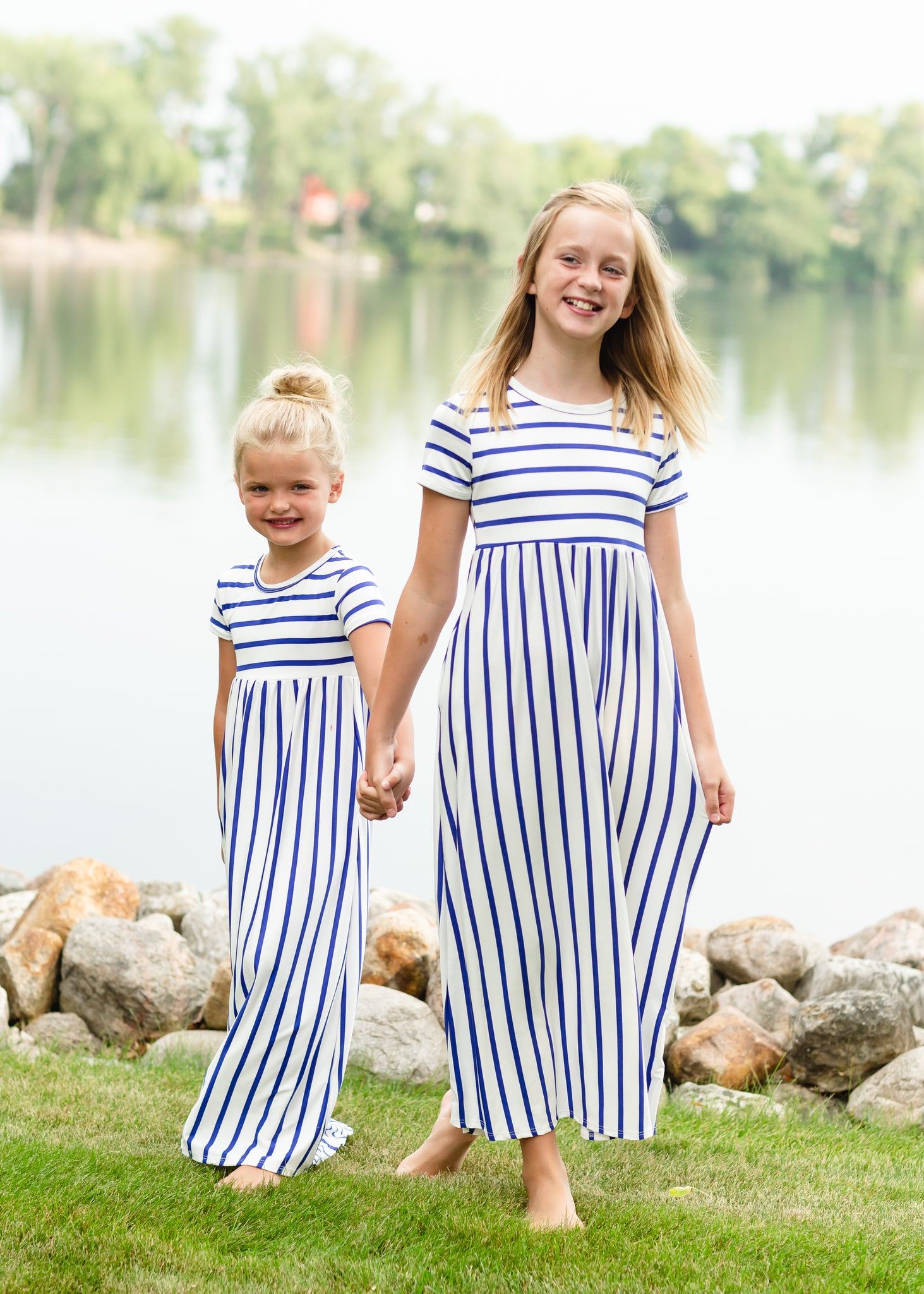 White + Navy Striped Maxi Dress - FINALSALE