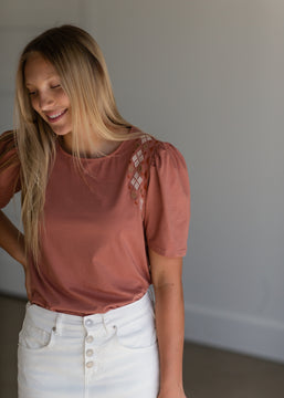 Terracotta Puff Sleeve Embroidered Top