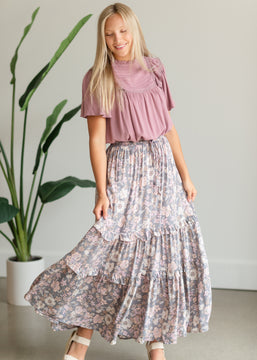 Gray Floral Tiered Maxi Skirt