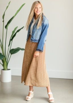 Camel Button Front Patterned Maxi Skirt