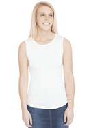 Sleeveless, lightweight layering tank in white or black.