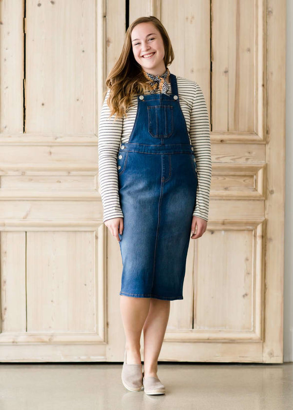 7461e6114a Women s Casual Denim Jumper Overall Dress – Inherit Co.
