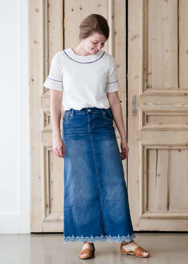 Inherit Co.  | Modest Women's Skirts | Lace Hem Long Jean Skirt | long denim maxi skirt with no slit and a scallop lace hem