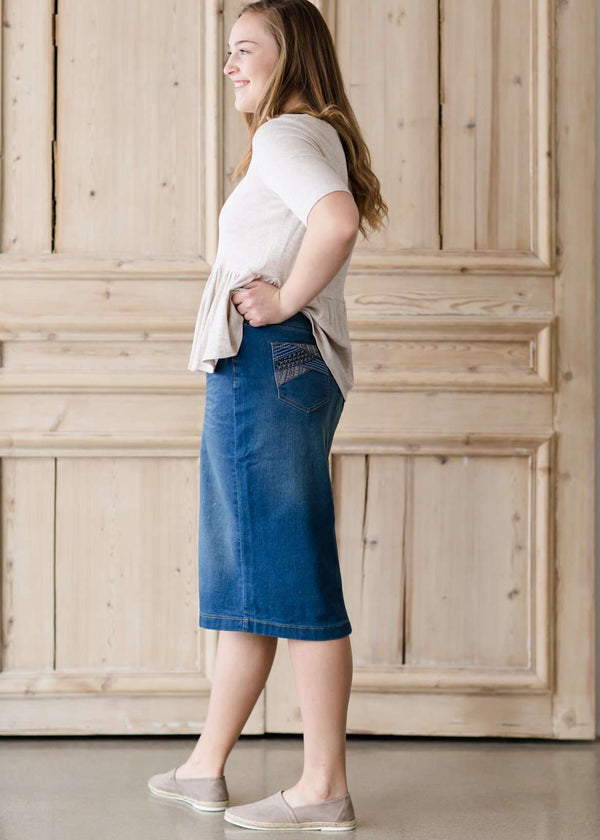 modest midi denim skirt