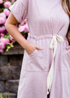 Lilac pocket and tie waist midi dress