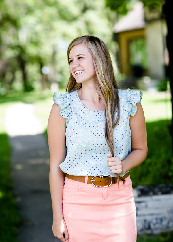Modest Mint Top with Coral Polka Dots and a Ruffle Cap Sleeve