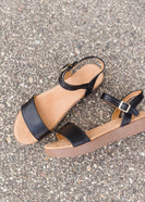 Black Ankle Strap Wedge - FINAL SALE