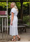 Gray Striped Belted Midi Dress - FINAL SALE