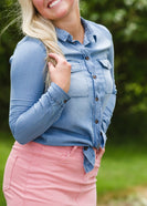Button Up Denim Chambray Top