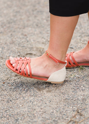 Ankle Strap Flat Brick Sandals - FINAL SALE