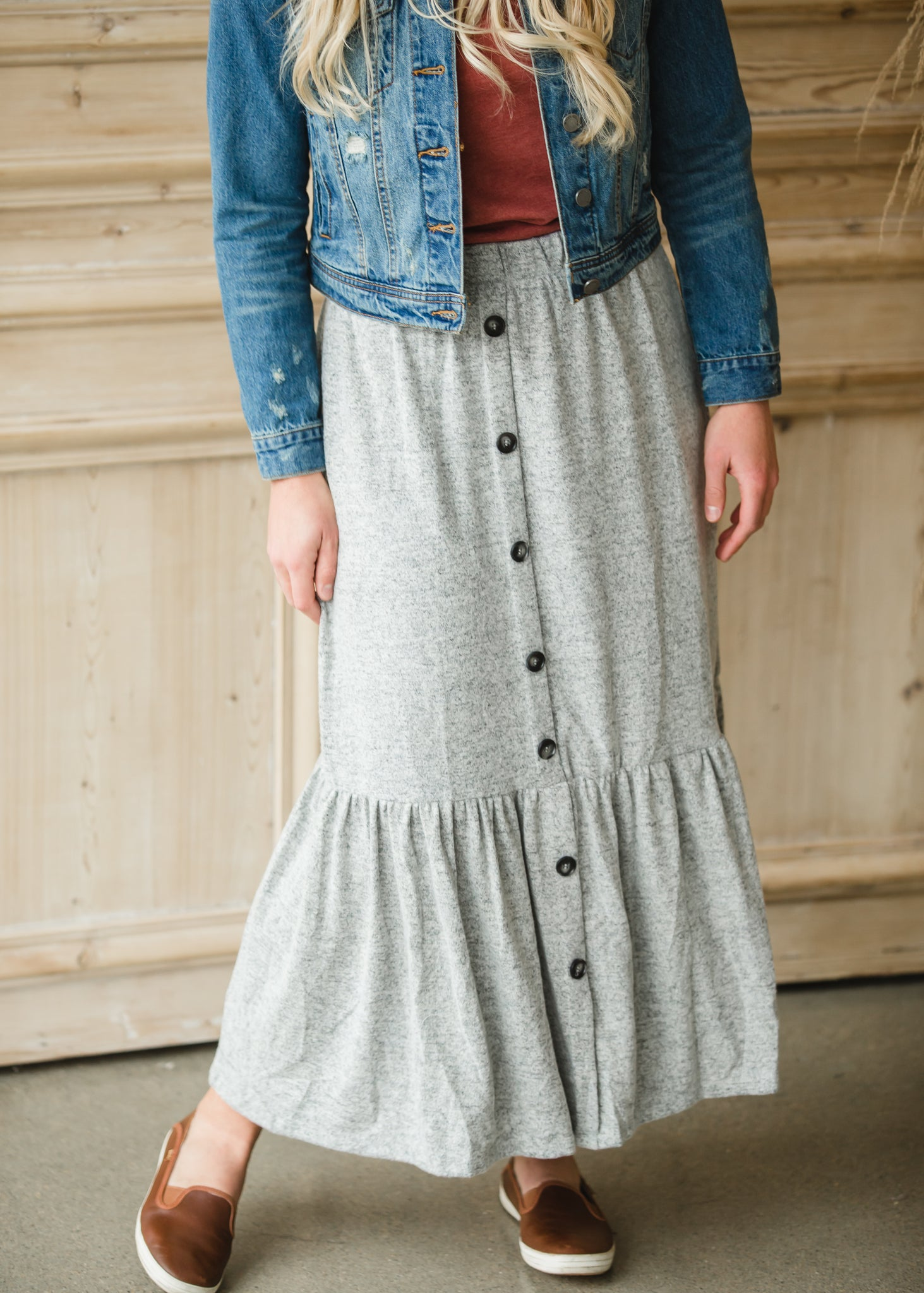 Gray Cozy Knit Tiered Midi Skirt