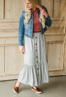 Inherit Co.  | Modest Women's Skirts | Penny Brown Denim Midi Skirt |