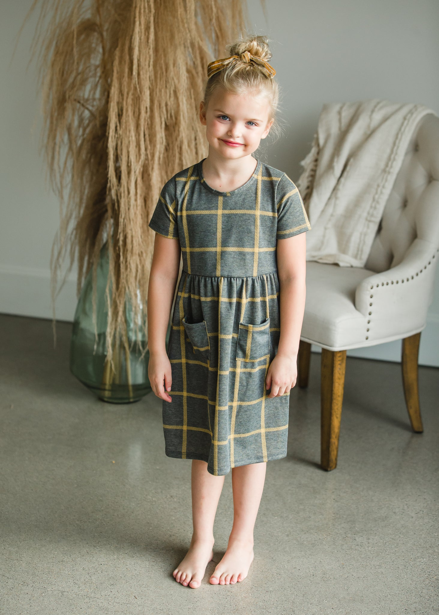 Gray + Mustard Windowpane Midi Dress