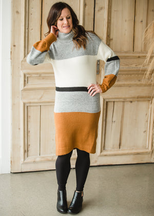 Bubble Sleeve Striped Sweater Dress