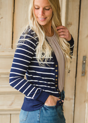 Navy Striped Snap Button Cardigan - FINAL SALE