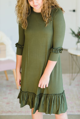 Inherit Co.  | Women's Modest Dresses | Sage Embroidered Front Maxi Dress |