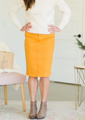 Mustard Classic Denim Midi Skirt - FINAL SALE