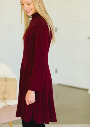 Burgundy Long Sleeve Midi Dress - FINAL SALE