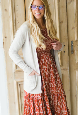 Inherit Co.  | Modest Women's Layering Essentials | Color Block Crochet Cardigan W/ Braided Back |