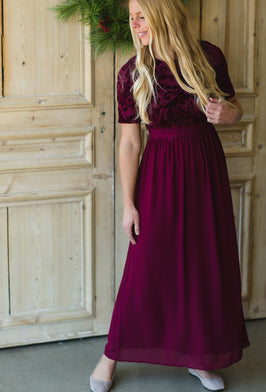 Inherit Co.  | Dress Sale | Burgundy Long Sleeve Midi Dress - FINAL SALE |