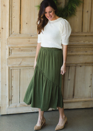 Flowy Olive Tiered Midi Skirt