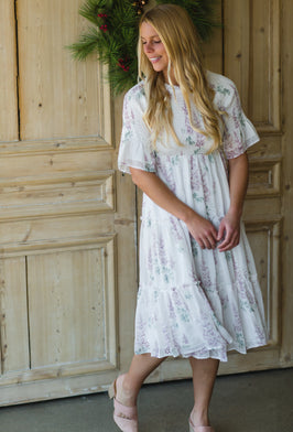Inherit Co.  | Women's Modest Dresses | Black Smocked Floral Midi Dress |