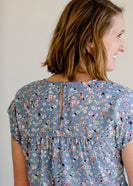 Inherit Co.  | Modest Women's Tops | Light Blue Floral Print Tee
