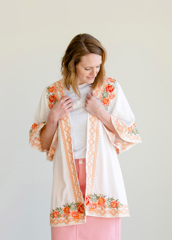 Inherit Co.  | Modest Women's Tops | Embroidered Floral Open Front Kimono