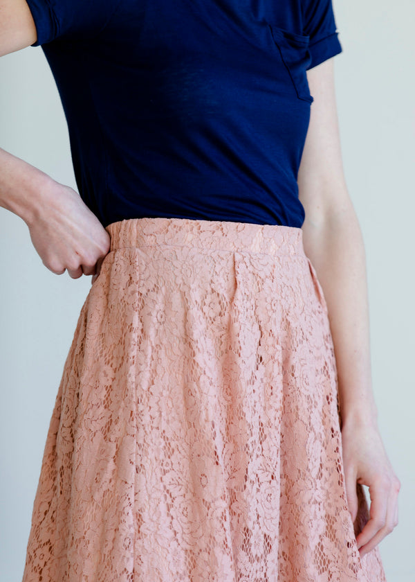 Inherit Co.  | Women's New Arrivals | Lace Stretch Waist Midi Skirt