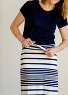 Navy and White Striped Maxi Skirt - FINAL SALE